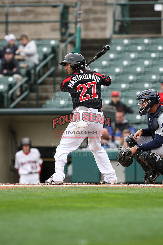Right fielder Darin Mastroianni (27) of the Rochester Red Wings awaits a pitch against the Scranton Wilkes-Barre Railriders on May 1, 2016 at Frontier Field in Rochester, New York. Red Wings won 1-0.  (Christopher Cecere/Four Seam Images)