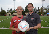 May 24, 2015; Los Angeles, CA, USA; Los Angeles Aviators owner Devin Miller (right) poses with Joe Forbes during an American Ultimate Disc League (AUDL) match against the San Francisco Flamethrowers at Occidental College. The Aviators defeated the Flamethrowers 23-22. <br /> <br /> Photo by Kirby Lee