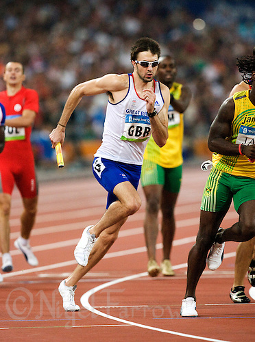 23 AUG 2008 - BEIJING, CHN - Martyn Rooney (GBR) - Mens 4x400m Relay final - Beijing Olympics (PHOTO (C) NIGEL FARROW) .*** IOC RULES APPLY ON USAGE ***