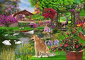Interlitho-Franco, LANDSCAPES, LANDSCHAFTEN, PAISAJES, paintings+++++,garden,KL4591,#l#, EVERYDAY ,puzzle,puzzles