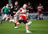 Photo: Richard Lane/Richard Lane Photography. Gloucester Rugby v Stade Toulouse. Heineken Cup. 20/01/2012. Gloucester's Mike Tindall kicks.