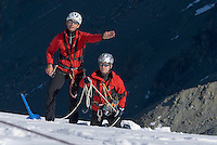 Jamtal, Silvretta, Tyrol, Austria, September 2007. A team of the Tyrolean Mountain Rescue Service lands by helicopter on the glacier for a training mission, to rescue a victim from a crevasse. The service has perfected this technique with help of selfconstructed materials that are now in service in Austria, Norway, Canada and the USA.  Photo by Frits Meyst/Adventure4ever.com