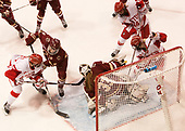 Mary Parker (BU - 15), Megan Keller (BC - 4), Katie Burt (BC - 33), Abby Cook (BU - 9), Maddie Elia (BU - 14) - The Boston College Eagles defeated the Boston University Terriers 3-2 in the first round of the Beanpot on Monday, January 31, 2017, at Matthews Arena in Boston, Massachusetts.