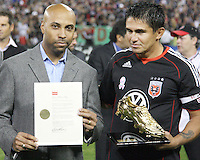 Representative of D.C. mayor Adrian Fenty with proclamation declaring October 23 Jaime Moreno day in the District of Columbia during festivities surrounding the final appearance of Jaime Moreno in a D.C. United uniform, at RFK Stadium, in Washington D.C. on October 23, 2010. Toronto won 3-2.