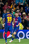 Lionel Andres Messi of FC Barcelona  celebrates during the UEFA Champions League 2017-18 match between FC Barcelona and Olympiacos FC at Camp Nou on 18 October 2017 in Barcelona, Spain. Photo by Vicens Gimenez / Power Sport Images