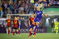 Orlando, Florida - Sunday, May 14, 2016: Orlando Pride midfielder Kaylyn Kyle (6) heads the ball during a National Women's Soccer League match between Orlando Pride and New York Flash at Camping World Stadium.