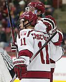 Jimmy Vesey (Harvard - 19), Kyle Criscuolo (Harvard - 11) - The Harvard University Crimson defeated the visiting Colgate University Raiders 7-4 (EN) on Saturday, February 20, 2016, at Bright-Landry Hockey Center in Boston, Massachusetts,