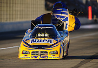 Nov 13, 2010; Pomona, CA, USA; NHRA funny car driver Ron Capps during qualifying for the Auto Club Finals at Auto Club Raceway at Pomona. Mandatory Credit: Mark J. Rebilas-