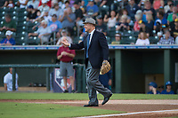 Arizona Fall League President Steve Cobb during the first pitch before the Fall Stars game at Surprise Stadium on November 3, 2018 in Surprise, Arizona. The AFL West defeated the AFL East 7-6 . (Zachary Lucy/Four Seam Images)