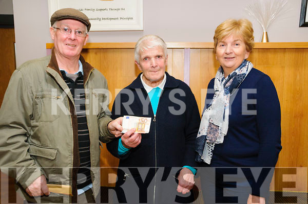 Donation:  Jimmy O'Driscoll of the North Kerry branch of Right to Water making a donation of €105.00 to Kitty McElligott of the North Kerry Altzheimer Association at the Listowel Family Resource Centre on Tuesday last. L-R: Jimmy O'Driscoll, Kitty McElligott & Bridie Mulvihill.