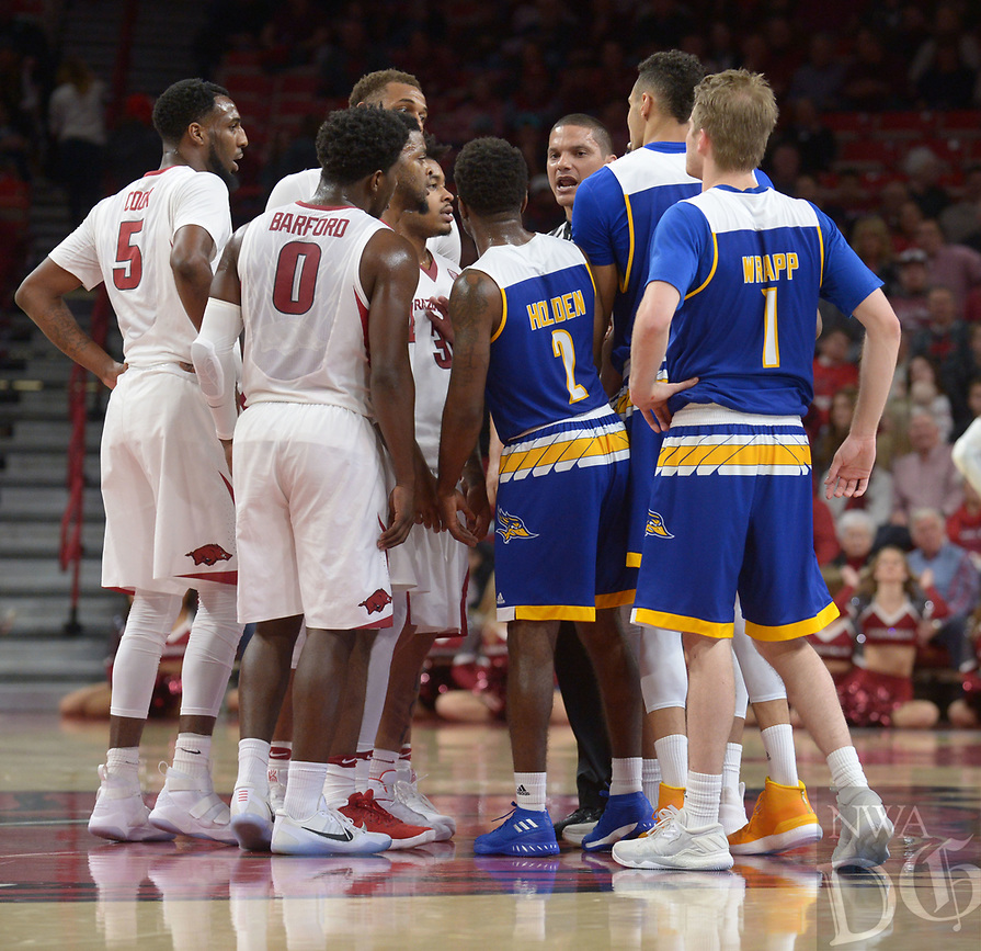 NWA Democrat-Gazette/ANDY SHUPE<br /> Arkansas Cal State-Bakersfield Wednesday, Dec. 27, 2017, during the second half in Bud Walton Arena. Visit nwadg.com/photos to see more photographs from the game.