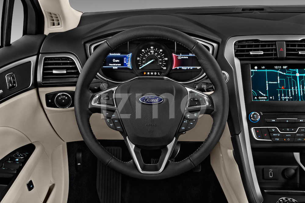 Car pictures of steering wheel view of a 2017 Ford Fusion Energi Plug-In Hybrid SE Luxury 4 Door Sedan Steering Wheel