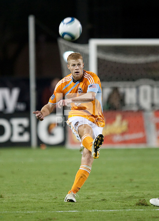 Andrew Hainault kicks the ball. The Houston Dynamo defeated the San Jose Earthquakes 1-0 at Buck Shaw Stadium in Santa Clara, California on October 16th, 2010.