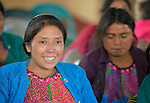 An indigenous woman participates in a workshop on women's rights in Tuixcajchis, a small Mam-speaking Maya village in Comitancillo, Guatemala.