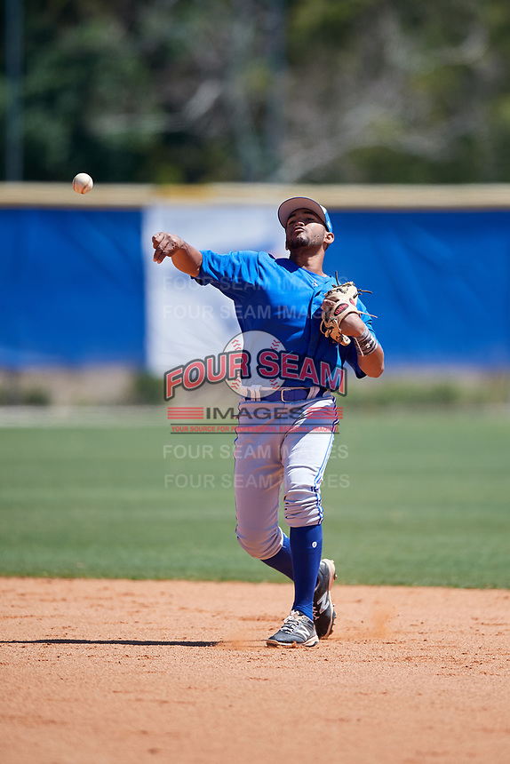 Toronto Blue Jays Jesus Navarro (3) during a Minor League Spring Training Intrasquad game on March 14, 2018 at Englebert Complex in Dunedin, Florida.  (Mike Janes/Four Seam Images)