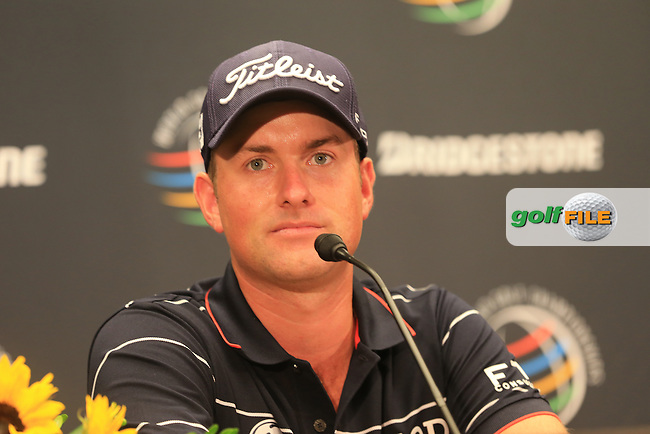 Webb Simpson (USA) with a score of -6 press conference during Thursday's Round 1 of the 2013 Bridgestone Invitational WGC tournament held at the Firestone Country Club, Akron, Ohio. 1st August 2013.<br /> Picture: Eoin Clarke www.golffile.ie