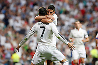 Cristiano Ronaldo and James of Real Madrid during La Liga match between Real Madrid and Atletico de Madrid at Santiago Bernabeu stadium in Madrid, Spain. September 13, 2014. (ALTERPHOTOS/Caro Marin)