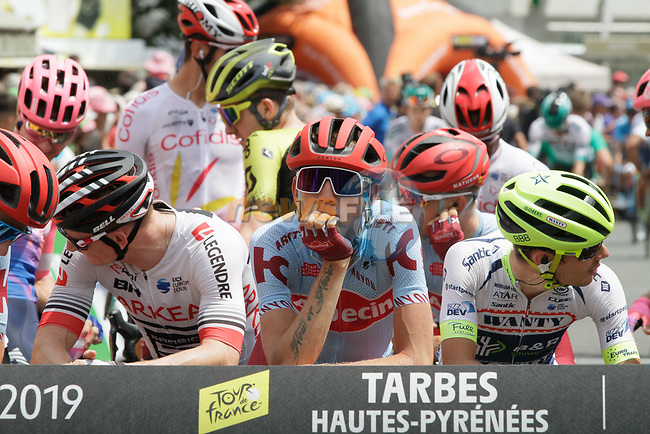 Ilnur Zakarin (RUS) Katusha Alpecin waits for the start of Stage 14 of the 2019 Tour de France running 117.5km from Tarbes to Tourmalet Bareges, France. 20th July 2019.<br /> Picture: Colin Flockton | Cyclefile<br /> All photos usage must carry mandatory copyright credit (© Cyclefile | Colin Flockton)