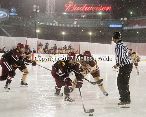 Dani Krzyszczyk (Harvard - 10), Erin Connolly (BC - 15) - The Boston College Eagles defeated the Harvard University Crimson 3-1 on Tuesday, January 10, 2017, at Fenway Park in Boston, Massachusetts.The Boston College Eagles defeated the Harvard University Crimson 3-1 on Tuesday, January 10, 2017, at Fenway Park.