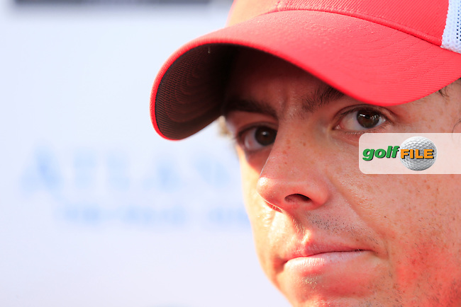 Rory McIlroy (NIR) after finishing round 2 of the season ending DP World, Tour Championship, Dubai, UAE.<br />