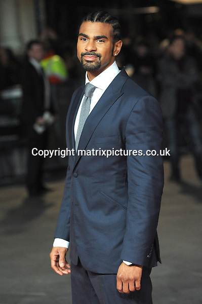 NON EXCLUSIVE PICTURE: PAUL TREADWAY / MATRIXPICTURES.CO.UK.PLEASE CREDIT ALL USES..WORLD RIGHTS..British boxer David Haye attending the world premiere of Jack Reacher, held at the Odeon Leicester Square in central London...DECEMBER 10th 2012..REF: PTY 125852