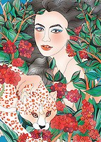 Young woman, leopard and red berries ExclusiveImage
