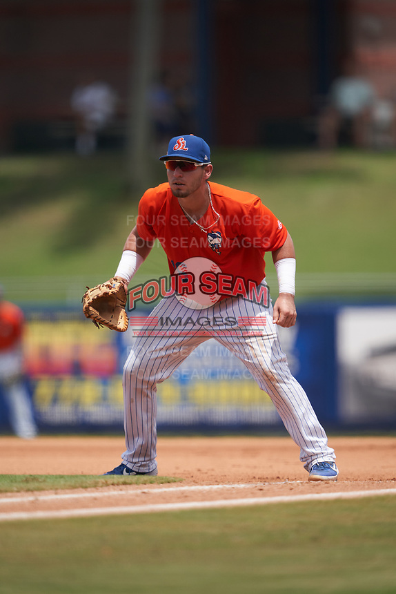 St. Lucie Mets first baseman Jeremy Vasquez (16) during a Florida State League game against the Daytona Tortugas on August 11, 2019 at First Data Field in St. Lucie, Florida.  Daytona defeated St. Lucie 7-4.  (Mike Janes/Four Seam Images)