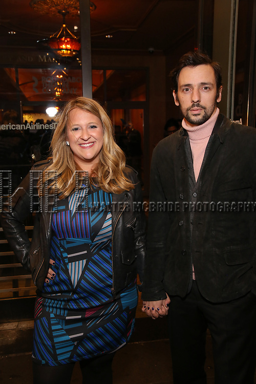 """Lindsey Ferrentino and guest attends the Broadway Opening Night Performance of """"John Lithgow: Stories by Heart"""" at the American Airlines Theatre on January 11, 2018 in New York City."""