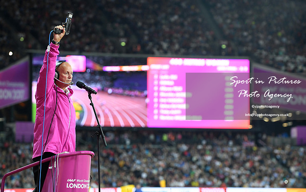 The starter for the womens 400m. IAAF world athletics championships. London Olympic stadium. Queen Elizabeth Olympic park. Stratford. London. UK. 07/08/2017. ~ MANDATORY CREDIT Garry Bowden/SIPPA - NO UNAUTHORISED USE - +44 7837 394578