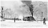 D&amp;RGW double-headed freight leaving Durango northbound with #463 leading with its large wedge pilot plow and #473 as the road engine.  There's only a little snow here, but likely much more on the way to Silverton.<br /> D&amp;RGW  Durango, CO  Taken by Richardson, Robert W. - 2/13/1953