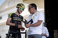 Simon Yates (GBR/Mitchelton-Scott) receiving his stage 15 winners medal from ASO race director Thierry Gouvenou at the race start in front of the Arena in Nîmes<br /> <br /> Stage 16: Nîmes to Nîmes(177km)<br /> 106th Tour de France 2019 (2.UWT)<br /> <br /> ©kramon