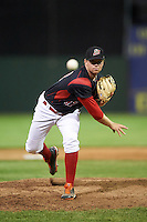 Batavia Muckdogs relief pitcher Jordan Hillyer (47) delivers a pitch during a game against the State College Spikes on June 23, 2016 at Dwyer Stadium in Batavia, New York.  State College defeated Batavia 8-4.  (Mike Janes/Four Seam Images)