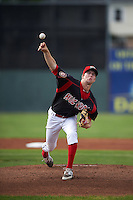 Batavia Muckdogs pitcher Travis Neubeck (13) delivers a pitch during a game against the Vermont Lake Monsters August 9, 2015 at Dwyer Stadium in Batavia, New York.  Vermont defeated Batavia 11-5.  (Mike Janes/Four Seam Images)