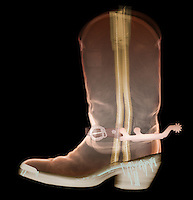 X-ray of a cowboy boot. This is an expensive handmade leather boot.
