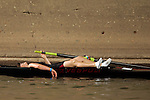 A rower from Carnegie Mellon reacts after crossing the finish line in the Women's Varsity Lightweight Four Final during the 68th Dad Vail Regatta on the Schuylkill River in Philadelphia, Pennsylvania on May 13, 2006...............................