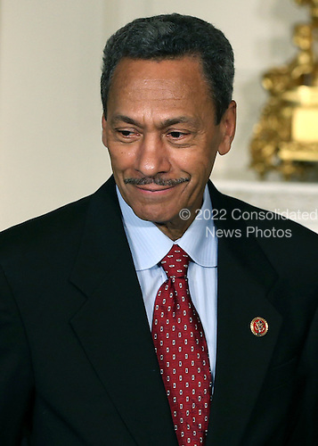 United States Representative Mel Watt (Democrat of North Carolina), smiles after President Barack Obama nominated him to be the next director of the Federal Housing Finance Agency, during an event at the White House May 1, 2013 in Washington, DC. Rep. Watt (D-NC), Watt would be the first permanent director in nearly four years for the housing regulator that oversees several mortgage companies.<br /> Credit: Mark Wilson / Pool via CNP