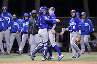 ELON, NC - FEBRUARY 28: Grant Magill #5 and Tristan Weaver #22 of Indiana State University chest bump after the seventh inning during a game between Indiana State and Elon at Walter C. Latham Park on February 28, 2020 in Elon, North Carolina.