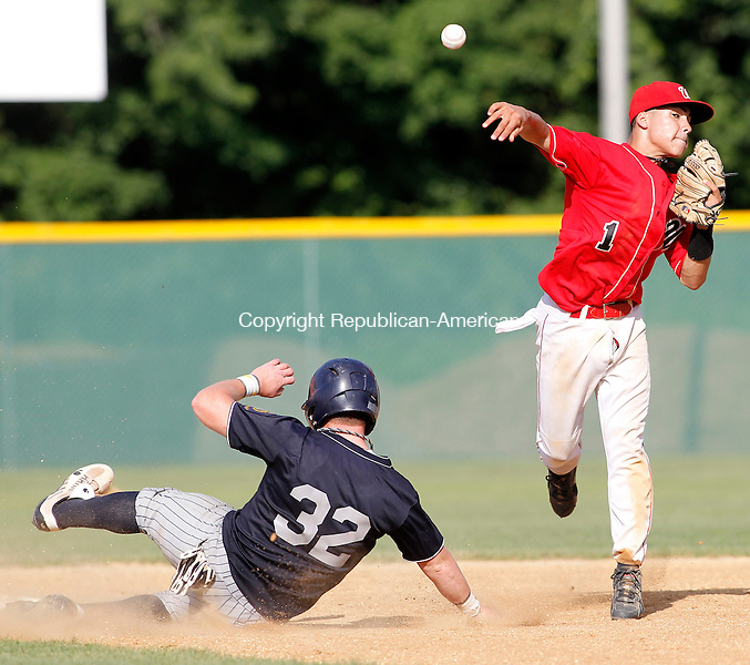 Waterbury, CT- 20, July 2010-072010CM05  Waterbury Post 17s Joel Acosta makes the throw to first base, as Madison's Jeff Buck slides into second.  Waterbury defeated Madison, 13-3.    --Christopher Massa Republican-American
