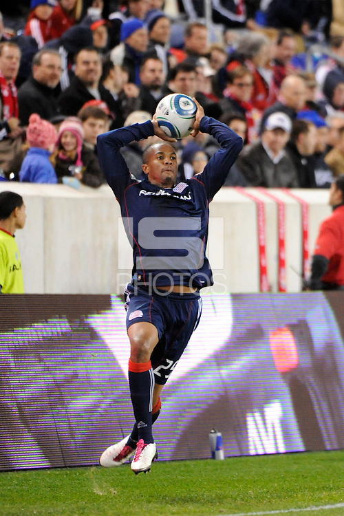 Darrius Barnes (25) of the New England Revolution on a throw in. The New York Red Bulls defeated the New England Revolution 2-0 during a Major League Soccer (MLS) match at Red Bull Arena in Harrison, NJ, on October 21, 2010.