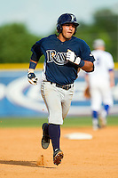 David Garcia (24) of the Princeton Rays rounds the bases after hitting a solo home run in the 6th inning against the Burlington Royals at Burlington Athletic Park on July 5, 2013 in Burlington, North Carolina.  The Royals defeated the Rays 5-1 in game one of a doubleheader.  (Brian Westerholt/Four Seam Images)