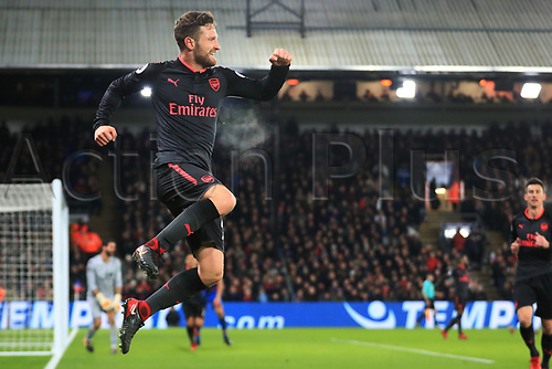28th December 2017, Selhurst Park, London, England; EPL Premier League football, Crystal Palace versus Arsenal;  Shkodran Mustafi of Arsenal celebrates after scoring as he makes it 0-1 in the 25t minute