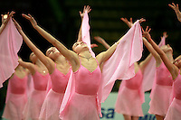 "Young performers from Deriugina School perform gala at 2008 World Cup Kiev, ""Deriugina Cup"" in Kiev, Ukraine on March 21, 2008."