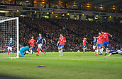 23rd March 2018, Hampden Park, Glasgow, Scotland; International Football Friendly, Scotland versus Costa Rica; Costa Rica goalkeeper Keylor Navas saves from Matt Ritchie of Scotland