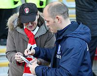 Preston North End manager Alex Neil signs an autograph for a Rotherham United fan<br /> <br /> Photographer David Shipman/CameraSport<br /> <br /> The EFL Sky Bet Championship - Rotherham United v Preston North End - Tuesday 1st January 2019 - New York Stadium - Rotherham<br /> <br /> World Copyright © 2019 CameraSport. All rights reserved. 43 Linden Ave. Countesthorpe. Leicester. England. LE8 5PG - Tel: +44 (0) 116 277 4147 - admin@camerasport.com - www.camerasport.com