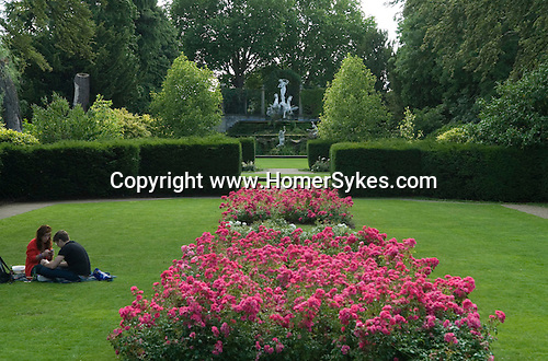York House Gardens, Rose garden and Water fountain Sculture,  Twickenham Middlesex.