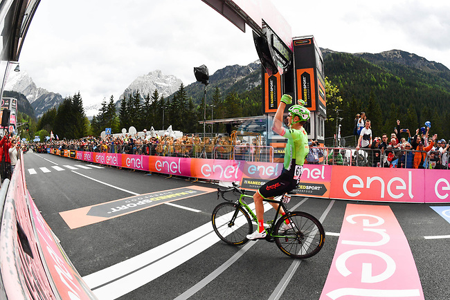 Pierre Rolland (FRA) Cannondale-Drapac wins Stage 17 of the 100th edition of the Giro d'Italia 2017, running 219km from Tirano to Canazei, Italy. 24th May 2017.<br /> Picture: LaPresse/Massimo Paolone | Cyclefile<br /> <br /> <br /> All photos usage must carry mandatory copyright credit (&copy; Cyclefile | LaPresse/Massimo Paolone)