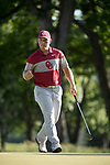 SUGAR GROVE, IL - MAY 31: Brad Dalke of the University of Oklahoma celebrates after sinking a putt during the Division I Men's Golf Team Championship held at Rich Harvest Farms on May 31, 2017 in Sugar Grove, Illinois. Oklahoma won the team national title. (Photo by Jamie Schwaberow/NCAA Photos via Getty Images)