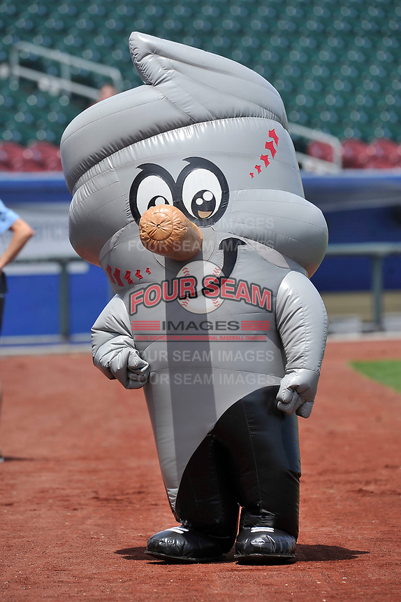 "One of the Omaha Storm Chasers mascots ""Vortex""  in action prior to a game against the Oklahoma City Dodgers at Werner Park on June 24, 2018 in Omaha, Nebraska. Omaha won 8-0.  (Dennis Hubbard/Four Seam Images)"