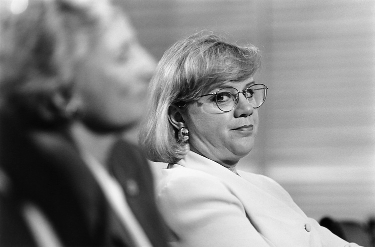 "Representative Jane Harman (left) and Susan Brooks (right) at ""contested election"" hearing. May 10, 1995 (Photo by Laura Patterson/CQ Roll Call)"