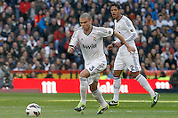 Real Madrid's Pepe (l) and Raphael Varane during La Liga match.March 02,2013. (ALTERPHOTOS/Acero) /NortePhoto